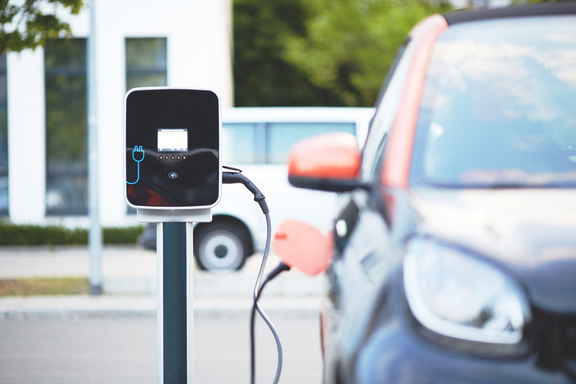 electric car at powering station